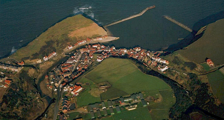 Ariel view of Staithes Old Village.