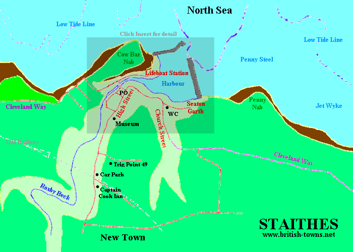 Map of the Fishing Village of Staithes