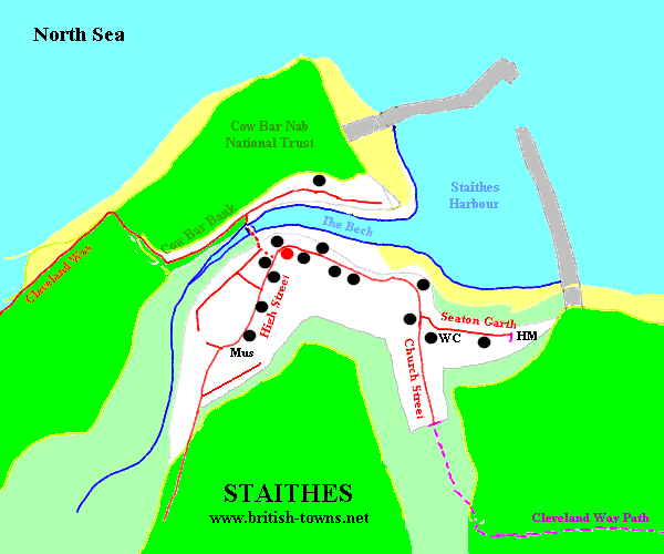 Map of the old centre of Staithes
